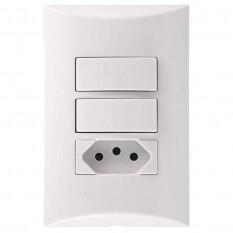 Interruptor 2 Seccao Simples + Tomada 10A Branco 553311 Brava Iriel